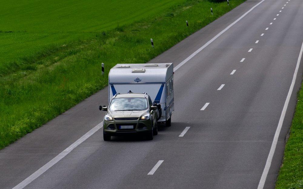 Caravan being towed on the highway
